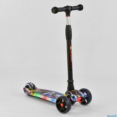 Самокат трехколесный Best Scooter UL - 34822 S (1), 4 колеса PU со светом, d=12 см, СВЕТ ПЛАТФОРМЫ, ЧЕРНЫЙ