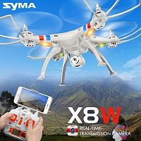 Квадрокоптер SYMA X8W: HD-камера, пульт 2.4G, WI-FI, FPV, 3D-флипы